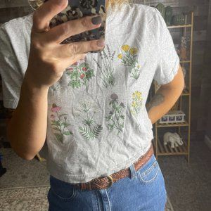 Colsie Gray Floral Crop Graphic Boxy T